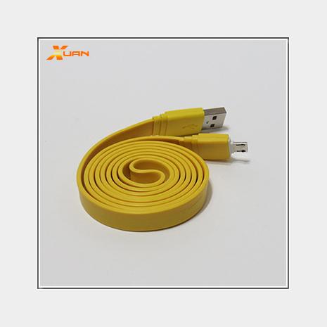 彩色大麵條扁線-Micro USB通用傳輸充電線(黃色)