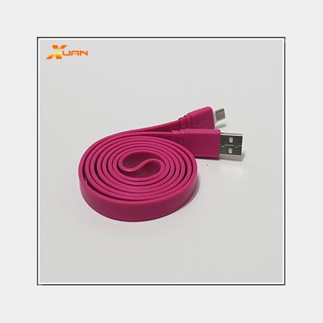 彩色大麵條扁線-Micro USB通用傳輸充電線(桃紅色)
