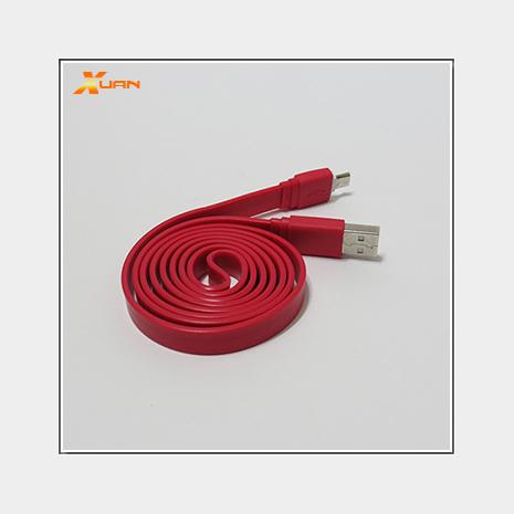 彩色大麵條扁線-Micro USB通用傳輸充電線(紅色)