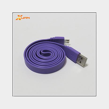 彩色大麵條扁線-Micro USB通用傳輸充電線(紫色)