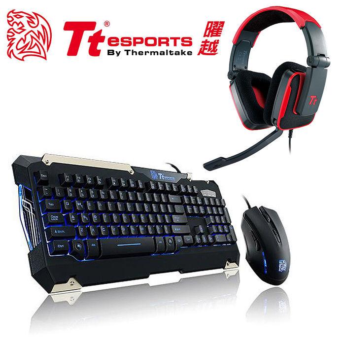 Tt eSPORTS 軍令官電競LED藍光鍵盤滑鼠組+震撼者(紅)電競耳機套組