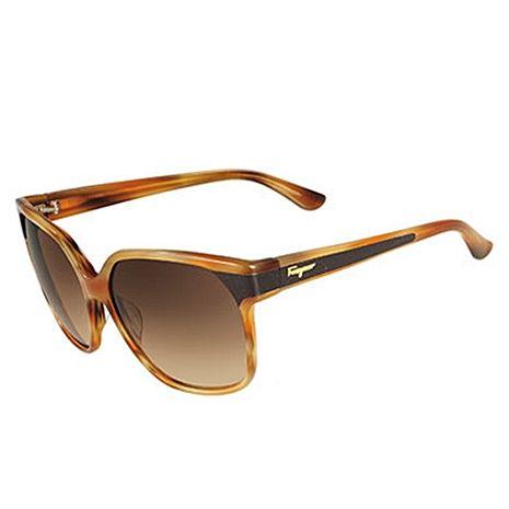 Ferragamo時尚直條紋太陽眼鏡-棕色黑