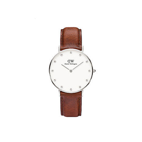 【公司貨】Daniel Wellington DW 瑞典簡約風格 34mm/Swarovski/水晶/真皮 DW00100079
