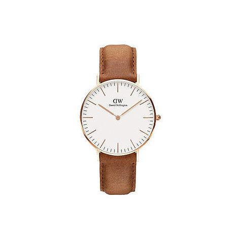 【公司貨】Daniel Wellington Classic DW 瑞典簡約風格 36mm/淺棕色/玫瑰金框手錶/真皮 DW00100111(暢銷款)