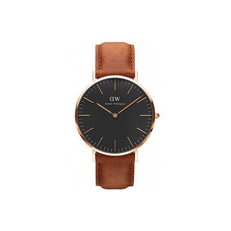 【公司貨】Daniel Wellington Classic DW 瑞典簡約風格 40mm 棕色/手錶/金框/真皮 DW00100126(新品上市)
