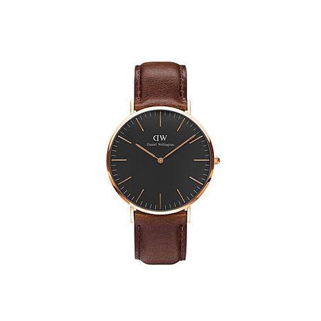 【公司貨】Daniel Wellington Classic DW 瑞典簡約風格 40mm 深咖啡/手錶/金框/真皮 DW00100125