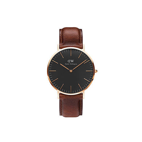 【公司貨】Daniel Wellington Classic DW 簡約時尚風格 40mm 淺紅咖啡/手錶/金框/真皮 DW00100124