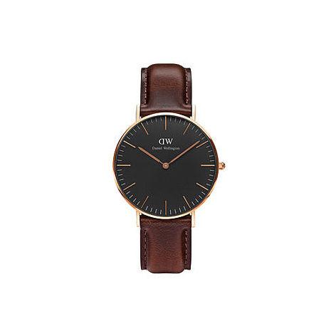 【公司貨】Daniel Wellington Classic DW 瑞典簡約風格 36mm 深咖啡/真皮/手錶/金框 DW00100137(新品上市)