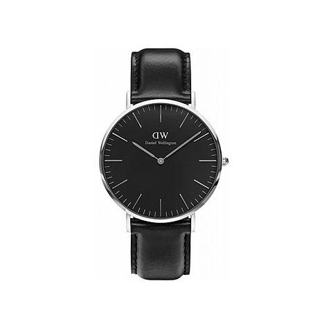 【公司貨】Daniel Wellington Classic DW 瑞典簡約風格 40mm 黑色/真皮/手錶/銀框 DW00100133(新品上市)