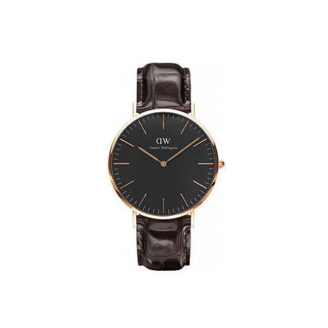 【公司貨】Daniel Wellington Classic DW 瑞典簡約風格 40mm 壓紋咖啡色/真皮/手錶/金框 DW00100128