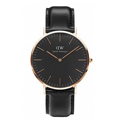 【公司貨】Daniel Wellington Classic DW 瑞典簡約風格 40mm 黑色/手錶/金框/真皮 DW00100127(新品上市)