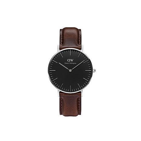 【公司貨】Daniel Wellington Classic DW 簡約時尚風格 36mm 深咖啡/真皮/手錶/銀框 DW00100143