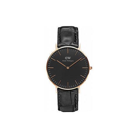 【公司貨】Daniel Wellington Classic DW 簡約時尚風格 36mm 壓紋黑色/真皮/手錶/金框 DW00100141(新品上市)