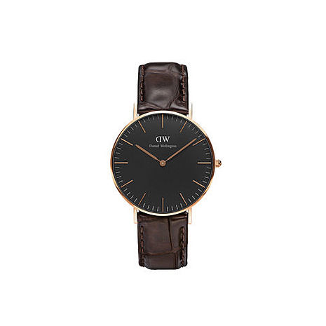 【公司貨】Daniel Wellington Classic DW 簡約時尚風格 36mm 壓紋咖啡色/真皮/手錶/金框 DW00100140