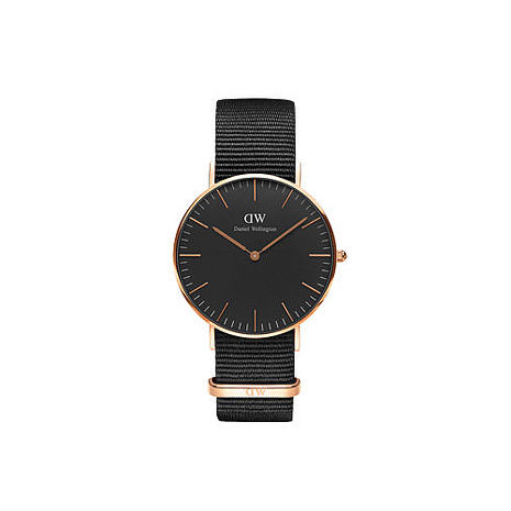 【公司貨】Daniel Wellington Classic DW 瑞典簡約風格 36mm 黑色/尼龍/手錶/金框 DW00100150(新品上市)