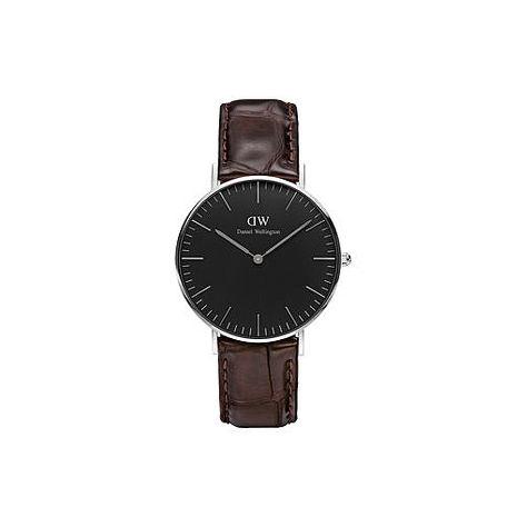 【公司貨】Daniel Wellington Classic DW 瑞典簡約風格 36mm 壓紋咖啡色/真皮/手錶/銀框 DW00100146