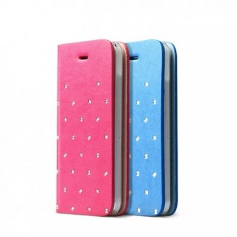 ZENUS iPhone 5C Z Brogue 粉色花俏風側掀式皮套天藍色