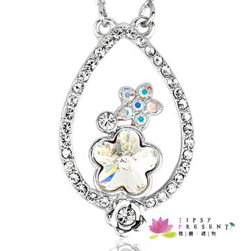 幸運符 項鍊 施華洛世奇 水晶元素 落櫻繽紛 唯美精緻款 微醺。禮物 (白櫻花)
