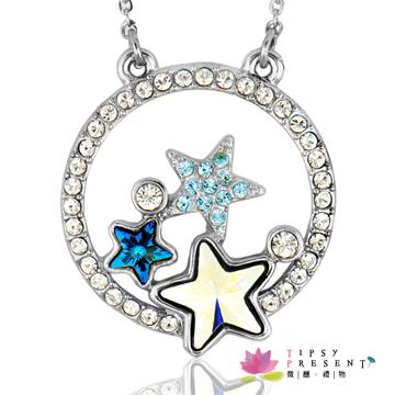 施華洛世奇水晶元素滿天星幸運符項鍊 (奇異白鑽+夜空藍)