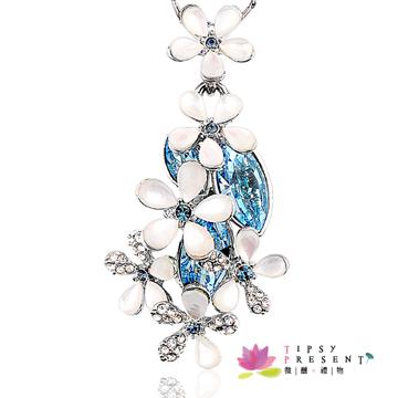 項鍊 施華洛世奇 水晶元素 繽紛白花 情人 精緻璀璨款 短鍊 微醺。禮物(清澈藍)