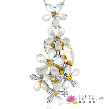 項鍊 施華洛世奇 水晶元素 繽紛白花 情人 精緻璀璨款 短鍊 微醺。禮物 (金色魅影)