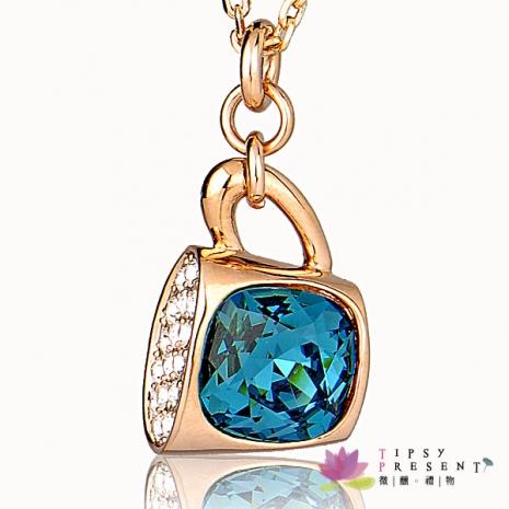 超夢幻 施華洛世奇 水晶元素 項鍊 裝著海洋的咖啡杯 璀璨湛藍款 短練 微醺。禮物