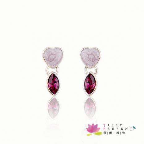耳環 施華洛世奇 水晶元素 紫色馬眼水鑽 愛心氣質款 微醺.禮物-服飾‧鞋包‧內著‧手錶-myfone購物