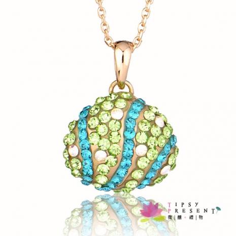 施華洛世奇 水晶元素 項鍊 貝形 小鑽鑲嵌款 短鏈 微醺。禮物(海洋綠)