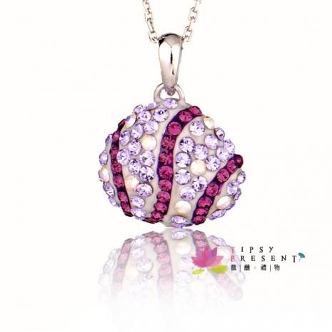 施華洛世奇 水晶元素 項鍊 貝形 小鑽鑲嵌款 短鏈 微醺。禮物(繽紛紫)