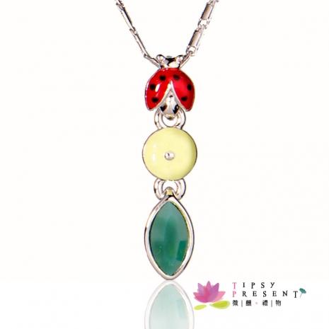施華洛世奇 水晶元素 項鍊 可愛 超注目款 小瓢蟲和樹葉的奇遇 微醺.禮物(樹葉綠)