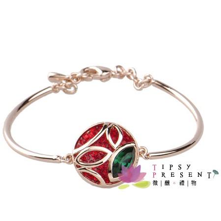 手鍊 施華洛世奇 水晶元素 閃亮薔薇 手環 微醺。禮物