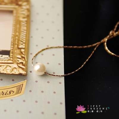 項鍊 單顆人造珍珠 純真年代 完美無暇款 頸鍊 微醺。禮物