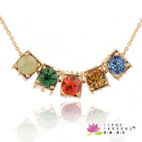 項鍊 施華洛世奇元素水晶 正方仿骰子項鍊 宴會經典華麗款 微醺。禮物