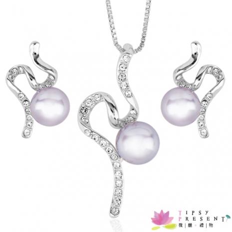 威尼斯人造珍珠 施華洛奧登水鑽 夢幻飛天 項鍊+耳環 套組 最佳禮品 微醺。禮物