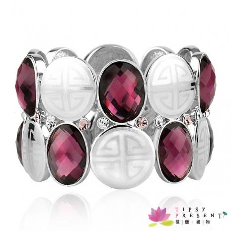 手鍊 施華洛世奇 水晶元素 奧登水鑽 橢圓大寶石 奢華時尚款 手鍊 兩色 微醺。禮物