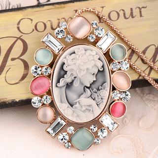 項鍊 人造貓眼 仿貝雕 高級水鑽 洛可可風 瑪莉皇后 浮雕 珠光寶氣款 毛衣鍊 長項鍊 微醺。禮物