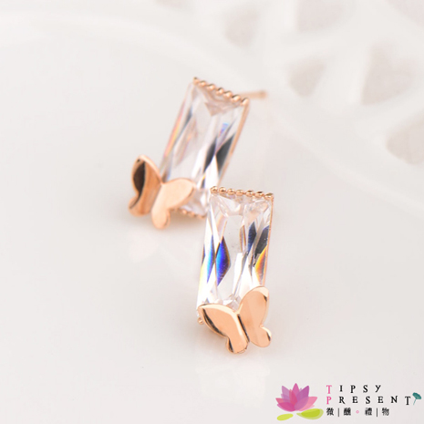 耳環 奧地利水晶 合金鍍K金 長方水晶蝴蝶 耳環 微醺 禮物