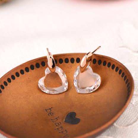 耳環 高級水鑽 合金鍍K金 白金 水晶愛心 耳環 兩色 微醺 禮物銀色