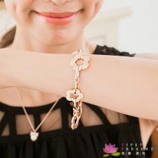 手鍊 合金鍍K金 玫瑰金 金色與貝殼 小花 可愛好搭 手鍊 微醺