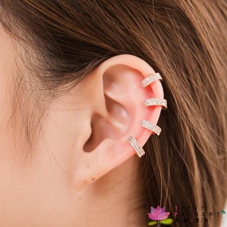 耳環 頂級鋯石 合金鍍k金 水鑽個性耳骨環 耳扣 耳環 微醺禮物