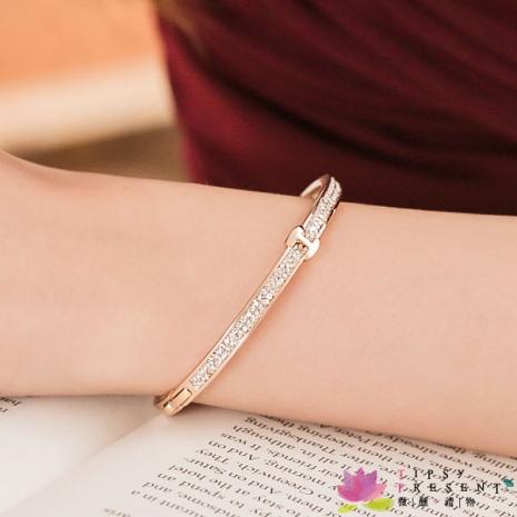 手環 高級水鑽 合金鍍K金 雙排水鑽 I型手環 手環 兩色 微醺 禮物金