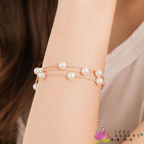 手鍊 人造珍珠 合金鍍K金 細緻白珍珠 手鍊 微醺禮物