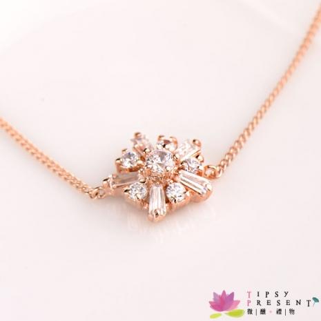 手鍊 頂級鋯石 合金鍍K金 結晶雪花 細緻 手鍊 微醺禮物