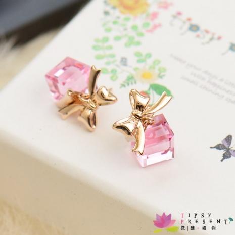 耳環 高級水鑽 合金鍍K金 愛的禮物 耳環 微醺禮物