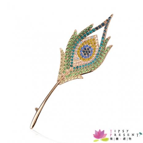 胸針 高級水鑽 合金鍍K金 華麗孔雀羽毛 胸針 微醺 禮物