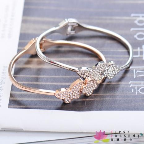 手環 高級水鑽 合金鍍層 滿鑽蝴蝶 彈簧手環 兩色 微醺禮物金