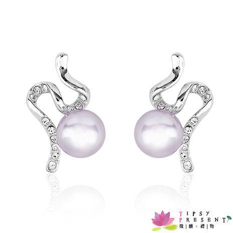 耳環 威尼斯人造珍珠 施華洛奧登水鑽 夢幻飛天 耳環 最佳禮品 微醺 禮物