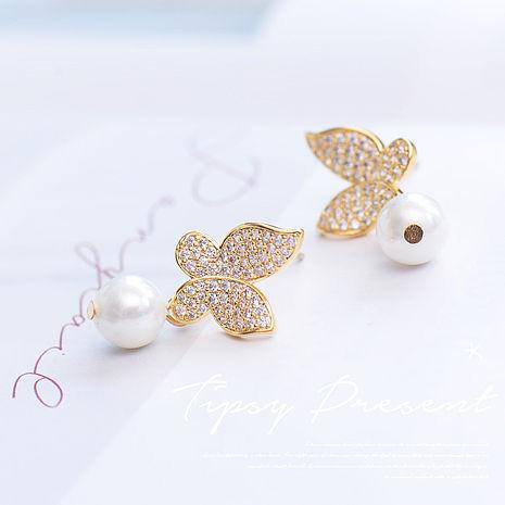 耳環 925銀針 頂級鋯石 金色蝴蝶+珍珠 耳環 微醺禮物