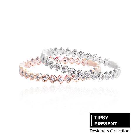 戒指 頂級鋯石 合金鍍層 菱形小鑽 戒指 兩色 微醺禮物金#8
