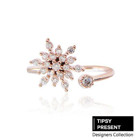 韓製 戒指 頂級鋯石 銅鍍16K金 聖誕雪花 開口式 戒指 微醺 禮物